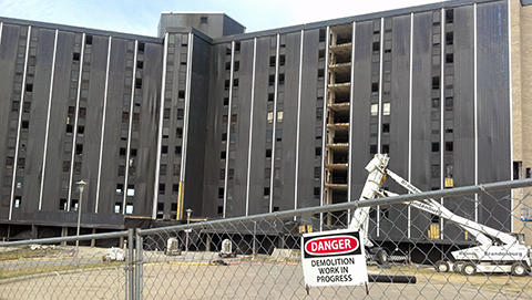 the front of Wetzel Hall one week prior to the implosion... Danger: Demolition Work in Progress