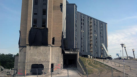a view of the south side of Wetzel Hall one week prior to the implosion