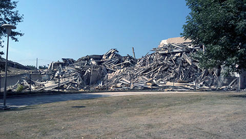 Wetzel Hall, or what's left of it, after the successful implosion