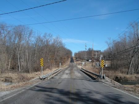 Looking north at the Wigwam Hollow Road bridge