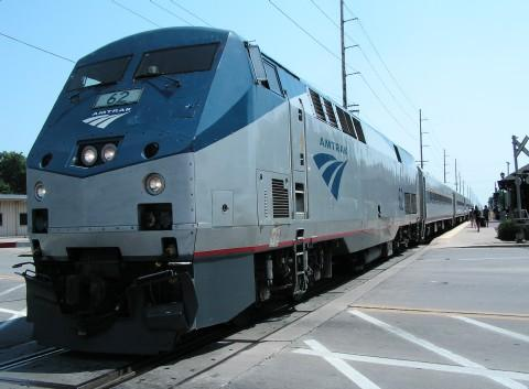 An Amtrak train at the Macomb Travel Center