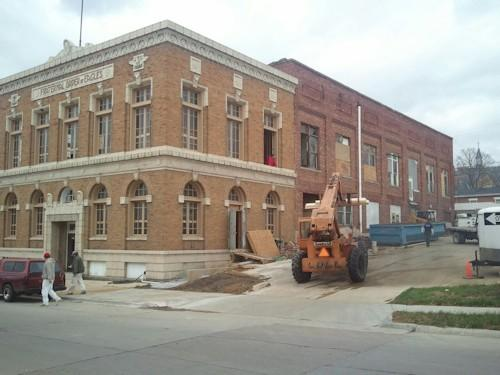 Crews continue to work on the former Eagles building in downtown Keokuk.