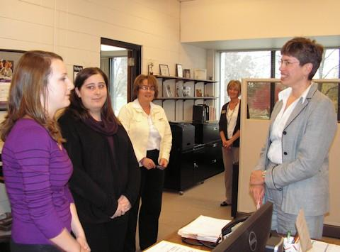 Lieutenant Governor Sheila Simon (right) meets with WIU students Jessica Toops (in the purple top) and Samantha Crunkilton (in the black top)