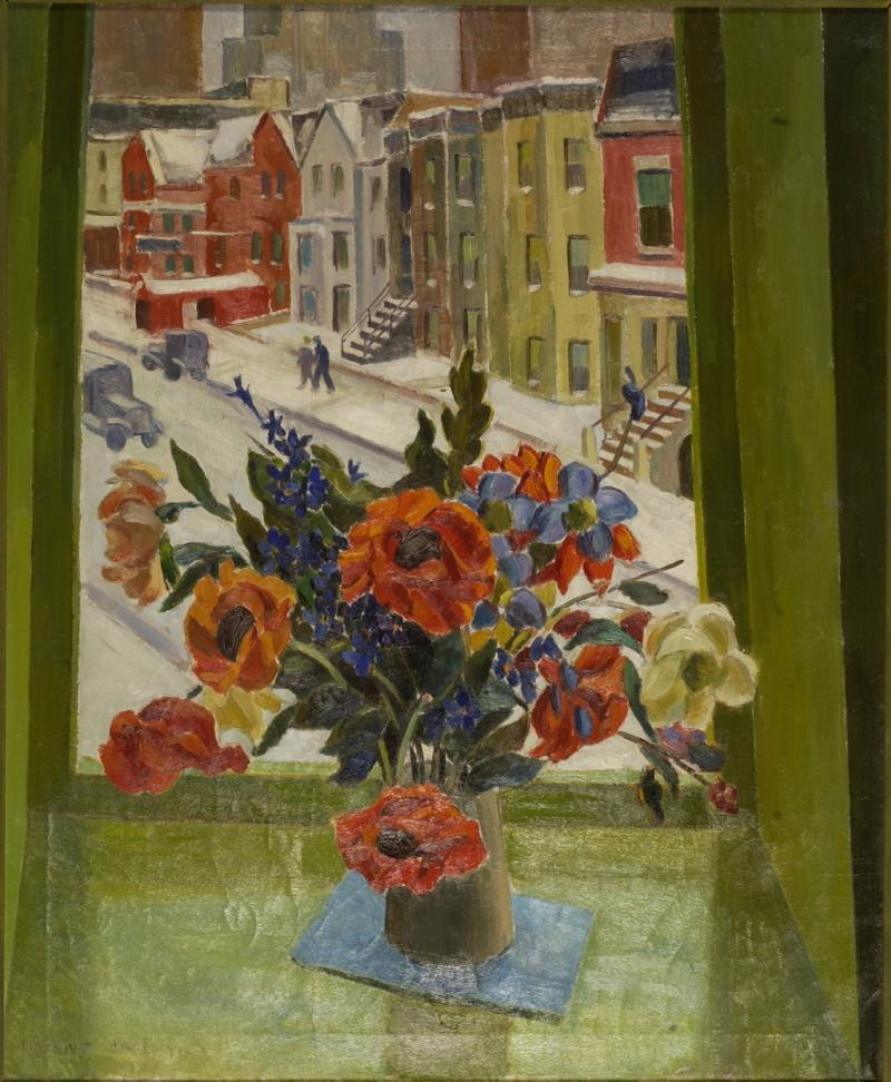 Vincent D'Agostino  Flowers against the Window, 1934  - Conservation Costs $4,020.00