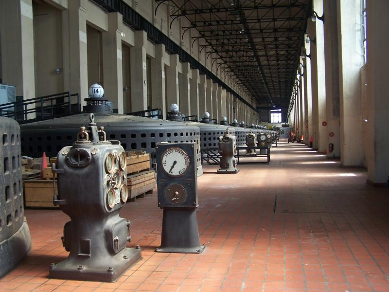 Each of these generators is connected to a giant turbine