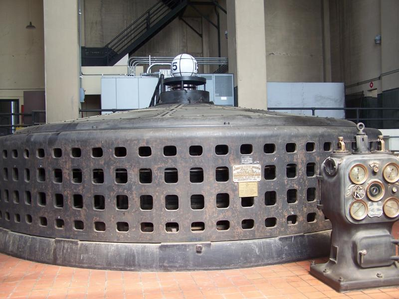 One of the generators inside the power plant