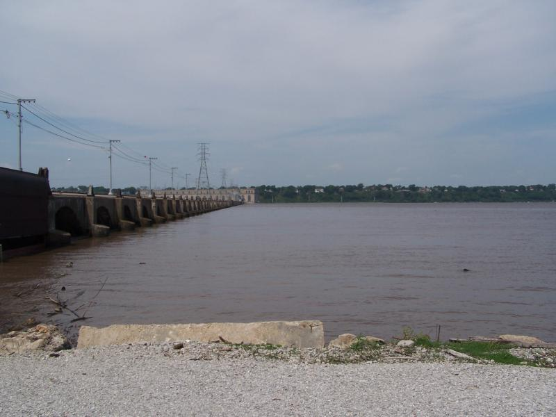 The view of the dam from Ameren Missouri's Illinois property