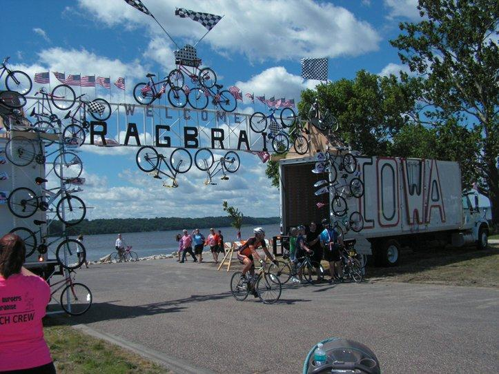 The Gateway for the end of RAGBRAI at Fort Madison's Riverview Park.
