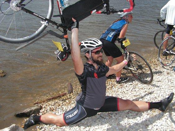 Alan Sanborn ending RAGBRAI his way, courtesy of Taekwondo skills learned at Iowa State University.