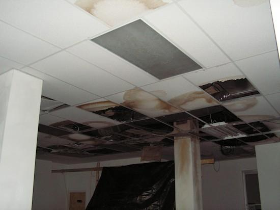 Water damage to the first floor ceiling