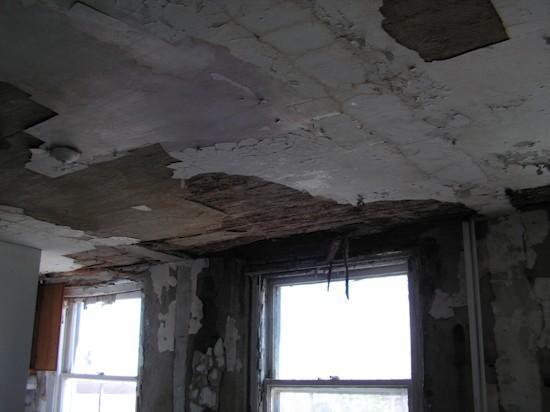 An upper floor ceiling