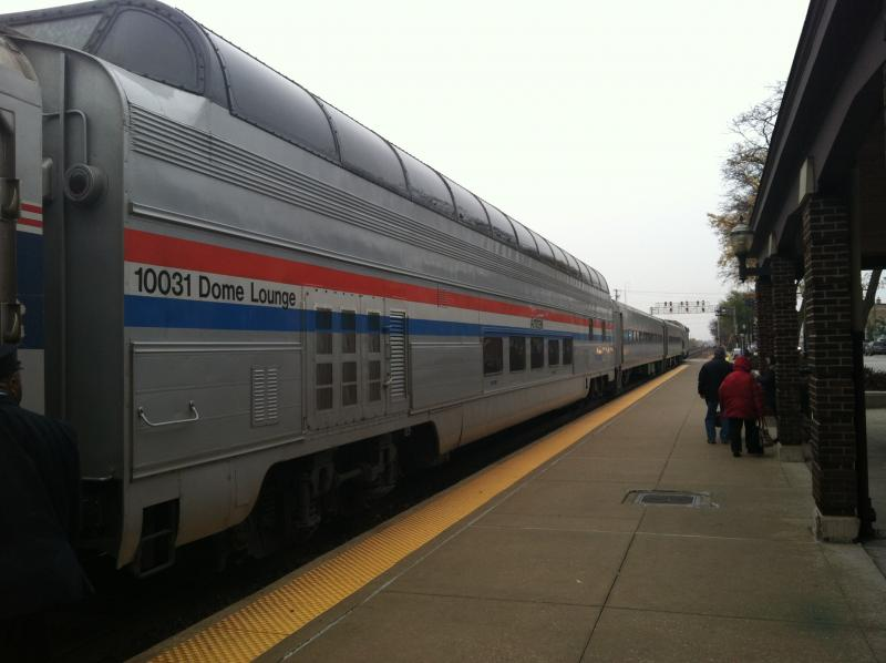 The Great Dome Car at the LaGrange Road station en route to Chicago