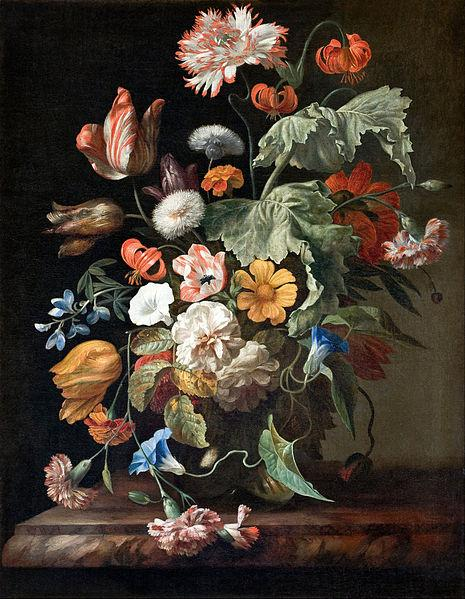 Still-Life with Flowers by Rachel Ruysch on display at the Hallwyl Museum in Stockholm, Sweden.
