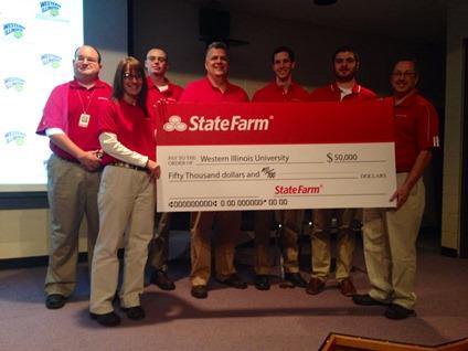 State Farm Insurance presents $50,000 check to WIU