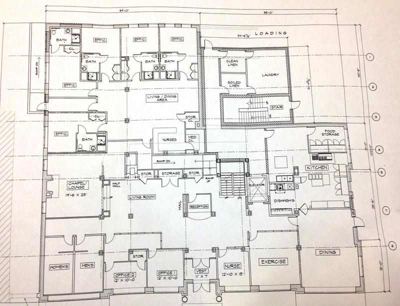 Plans for the first floor include a few efficiency apartments, offices, dining room and kitchen, exercise area and a chapel.