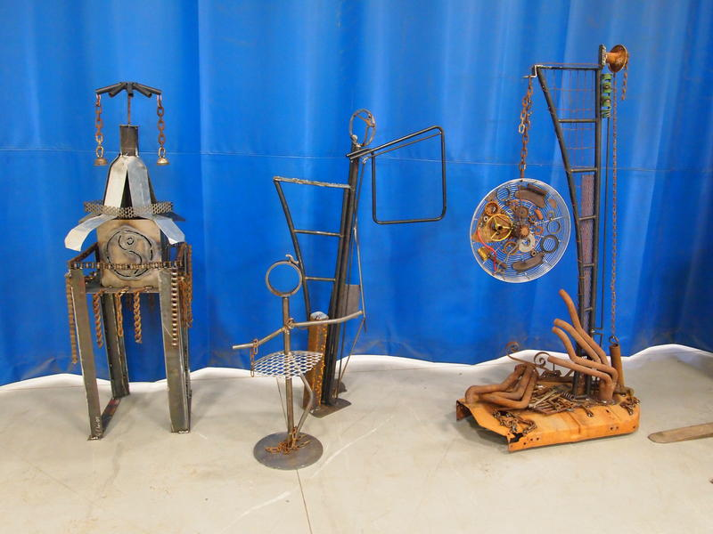 Carl Sandburg College students used numerous pieces of scrap metal to create stautes and works of art.