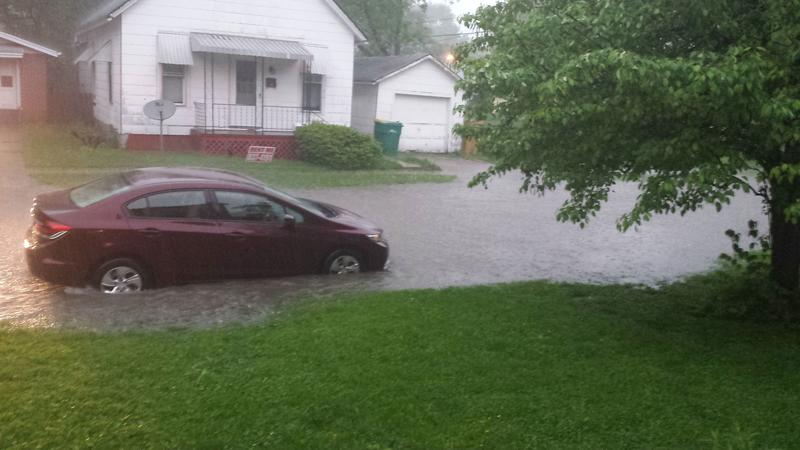 The deluge temporarily turned East Walker Street and other streets in Macomb into small rivers and lakes.