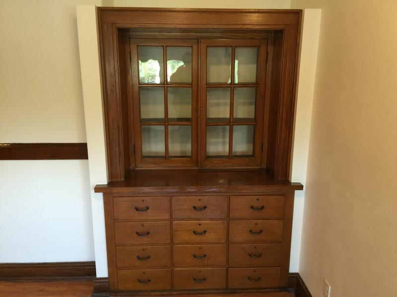 Schneider says whenever possible, existing furniture were rehabbed and reused such as these drawers and cabinets.