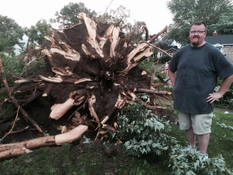 """That's me standing next to the trunk of our tree.  To help with the scale, I am about 6'7"""" in shoes"""