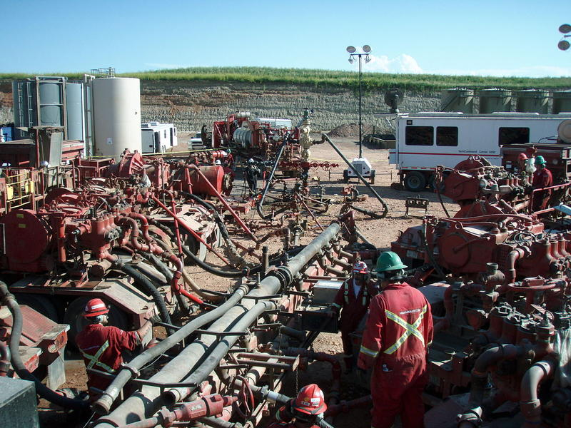 A fracking operation at work.