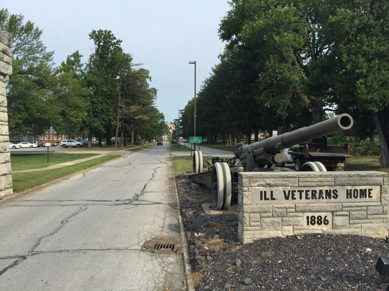 The front entrance to the Illinois Veterans' Home-Quincy. Seven have died in an outbreak of Legionnaires' disease.