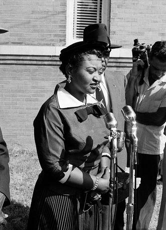 Mamie Till-Mobley during an interview outside the courthouse after Roy Bryant and J.W. Milam were acquitted for the murder of her son.
