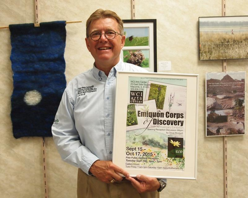 The Nature Conservancy's Doug Blodgett at the opening reception for the Emiquon Corps of Discovery exhibit at the West Central Illinois Arts Center.