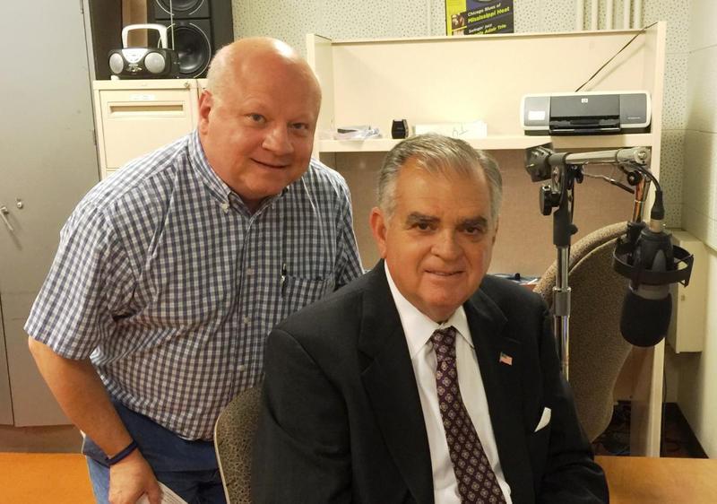 Ray LaHood (right) with Illinois Public Radio's Willis Kern