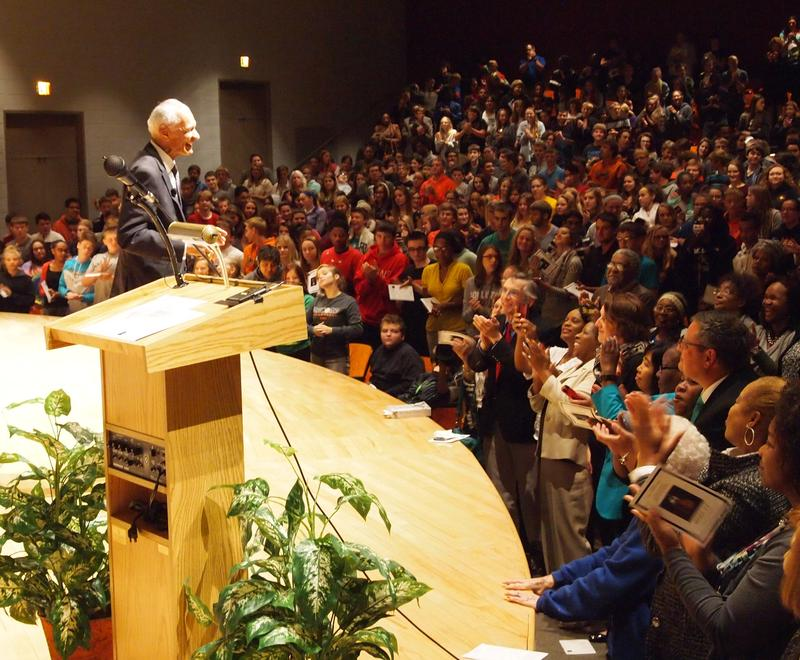 The Reverend C.T. Vivian received a standing ovation before and after his speech at Macomb Junior-Senior High School.