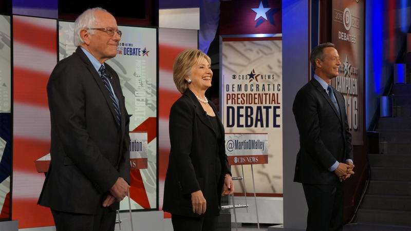 Sanders, Clinton, and O'Malley address the crowd in Des Moines before the second Democratic debate.