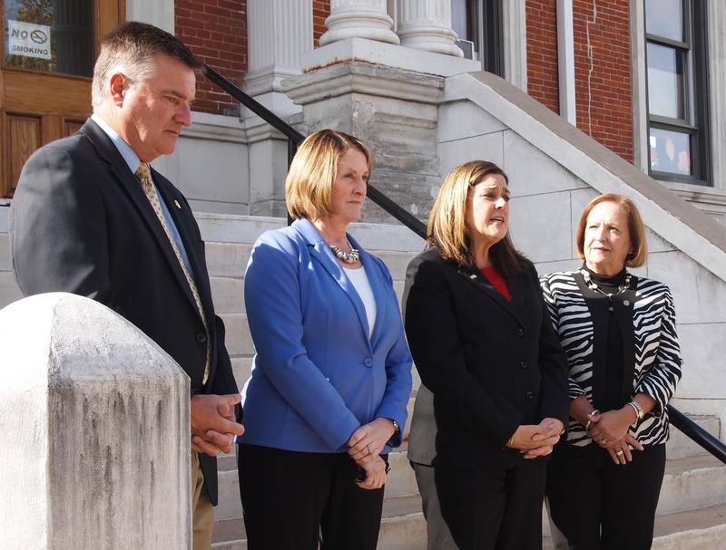 Jil Tracy (second from right) talked about her campaign outside the McDonough County Courthouse. She's flanked by State Representative Randy Frese (R-Paloma), Senate Minority Leader Christine Radogno (R-Lemont), and State Representative Norine Hammond (R-