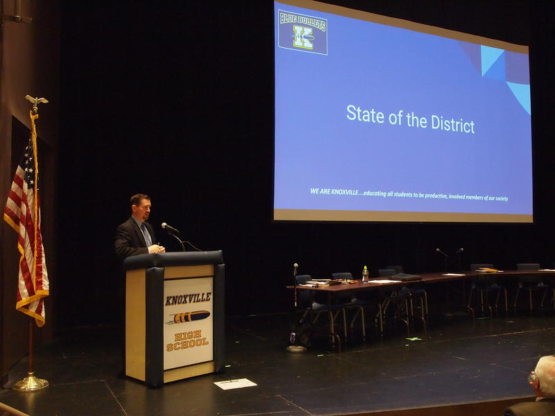 Superintendent Steve Wilder touched on numerous subjects and accomplishments in his half-hour presentation.