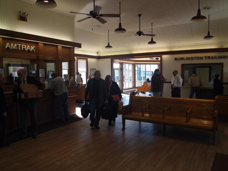 Passengers walk through the newly-renovated Amtrak station in Galesburg.