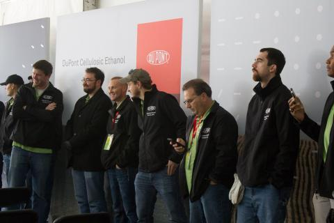 DuPont employees at the opening of the cellulosic ethanol plant in Iowa. DuPont could merge with Dow to create the largest chemical company in the US.