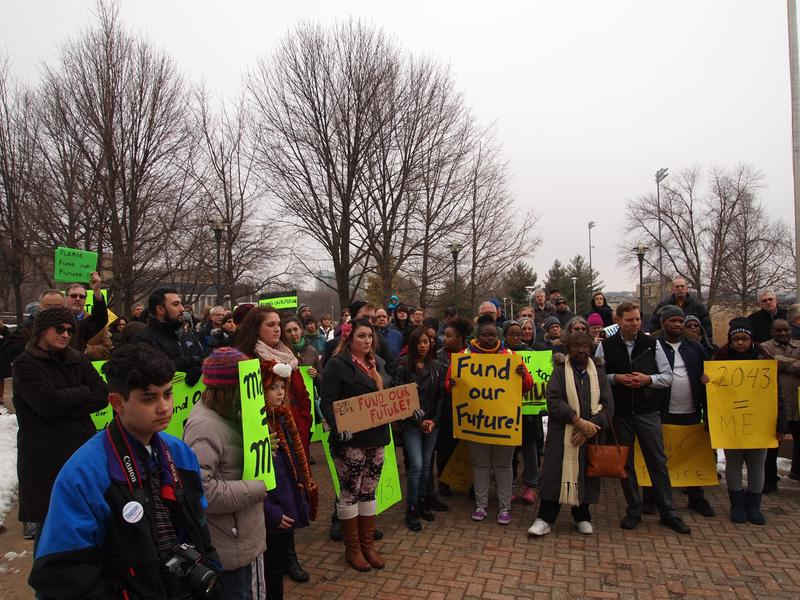 A rally was held at WIU on Tuesday to protest the lack of funding for the university and for the MAP grants that help students from low income families.