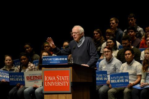 Sen. Bernie Sanders speaks at Iowa State University in January.