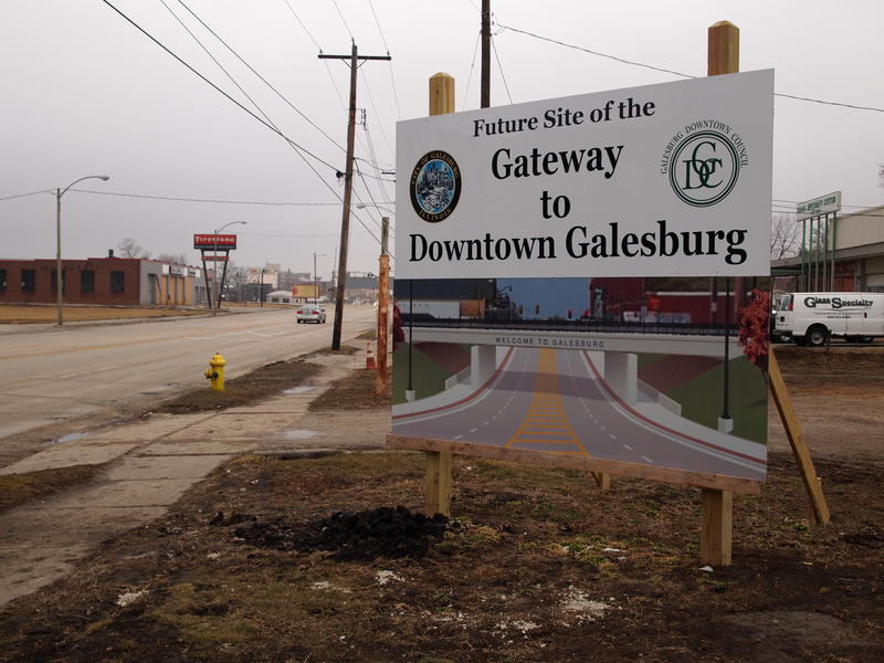 A sign shows what the East Main Street underpass will look like upon completion.