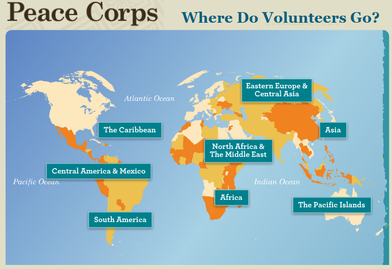 Wiu celebrates peace corps 55th anniversary tri states public radio peace corps service map the international organization places volunteers in 62 countries publicscrutiny Image collections