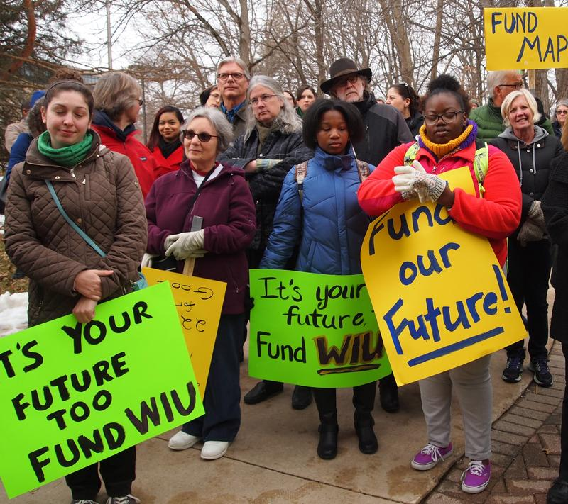 Demonstrators during a February rally on the WIU campus.