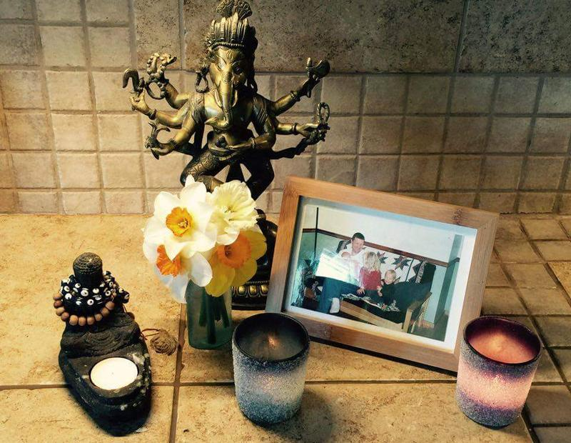 The kitchen altar at the McIlvaine-Newsad home.