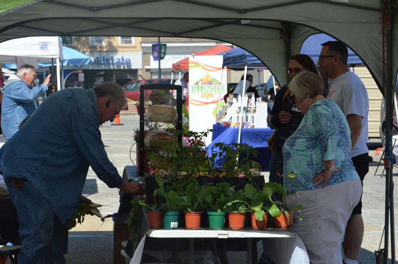 People line up to get fresh produce from the Macomb Farmers Market.