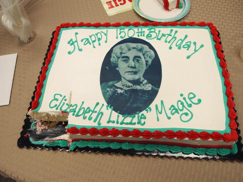 Cake to celebrate Lizzie Magie's 150th birthday