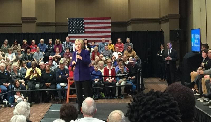 Hillary Clinton speaking to a crowd in Burlington, IA in January, 2016.