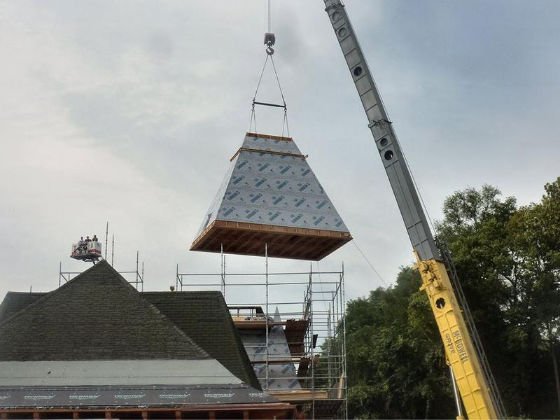 The steeple was added to the Keokuk Union Depot Wednesday afternoon
