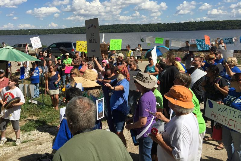 Supporters prepare to take the hill and trespass onto the property controlled by Dakota Access.