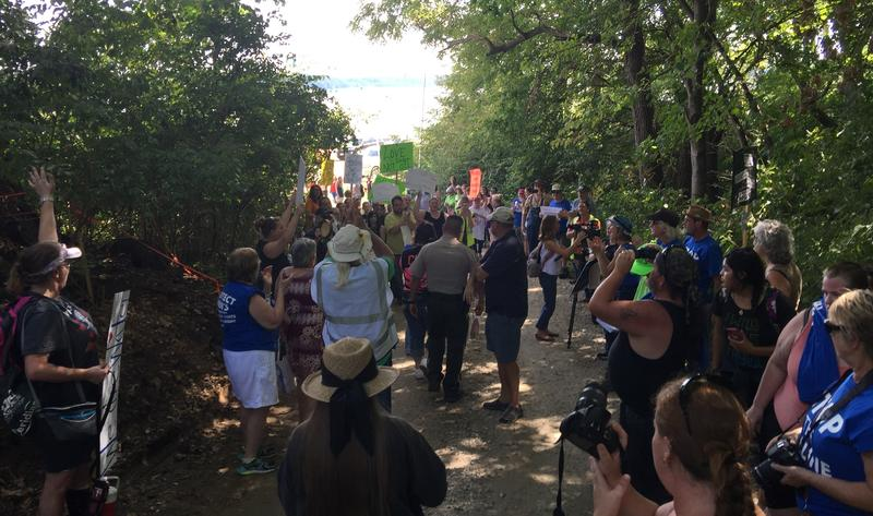 After the arrests were made, the demonstrators were able to move up the hill a bit more, taking advantage of the shade amongst the glaring sun.