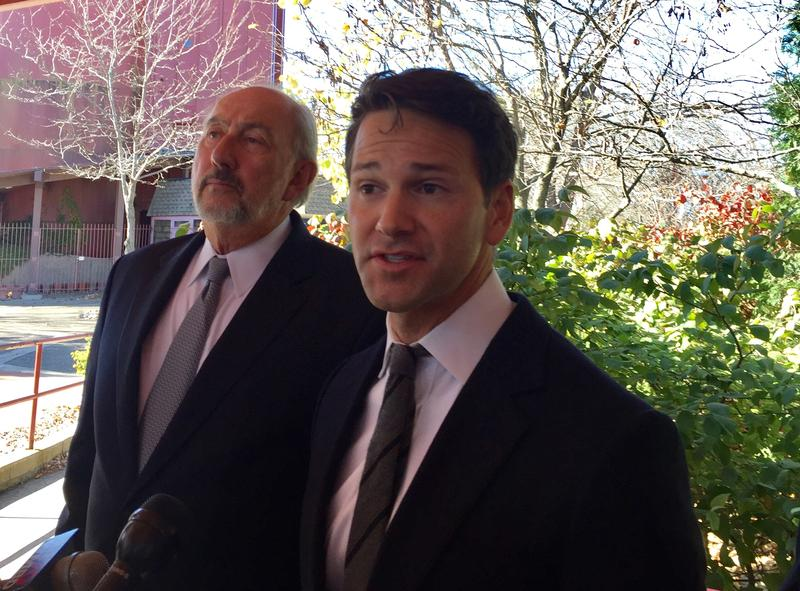Aaron Schock (right) and attorney George Terwilliger (left) dismissed allegations of any wrongdoing by the former congressman's office. Schock resigned in March 2015.