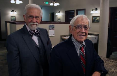 Lyle Koenig, left, helped create the Rural Law Opportunities Program in Nebraska, which offers scholarship to rural students interested in filling the shoes of country lawyers like Robert Moodie, right.