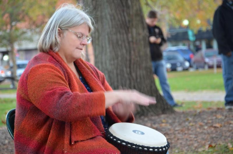 Heather McMeekan led a drum circle at the rally
