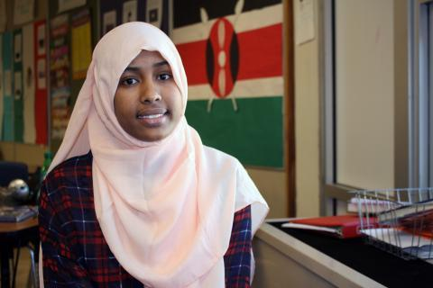 Isra Mohamud, 18, is a member of Fort Morgan's small East African population, many members of which work at the local meatpacking plant.